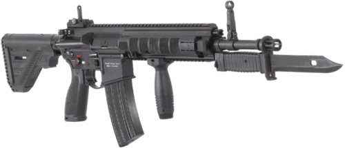 An HK 416 with fore grip and bayonet attached.