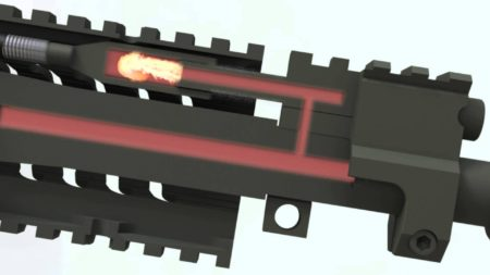 A gas-piston design at work photo from YouTube).