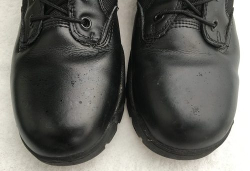After 2 months the TAC FORCE boots maintained a glossy shine without any polish.