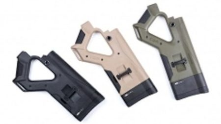 The HERA Arms CQR buttstock comes in black, tan, or green.