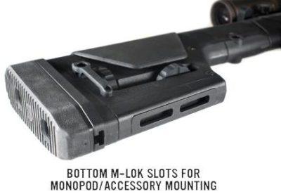 M-Lok attachment slots allow mono-pod and other accessories.