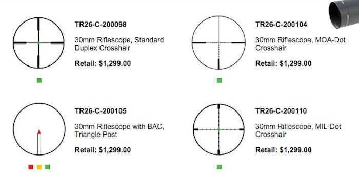 reticle options on the Trijicon AccuPoint 2.5-12.5x42 Scope