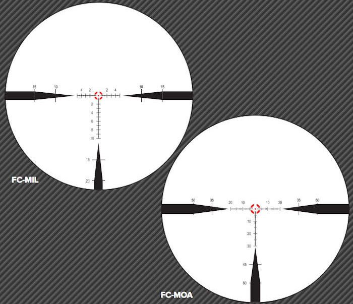 reticle options on the Nightforce NX8 1-8x24 scope